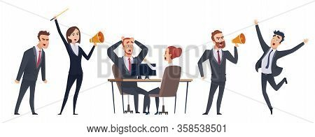 Screaming People. Angry Business Characters. Woman Man With Megaphone. Negative Leadership Vector Il