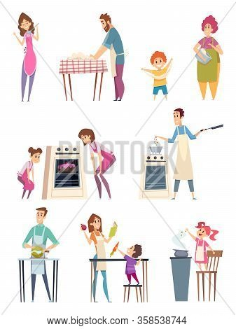 Family Cooking. Happy Characters Couple Parents Kids Preparing Food Bakery Professional Chef In Kitc