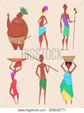 African People. Authentic Traditional Characters Poor Families African Diversity Vector Illustration