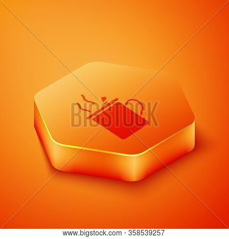 Isometric Mulled Wine With Glass Of Drink And Ingredients Icon Isolated On Orange Background. Cinnam
