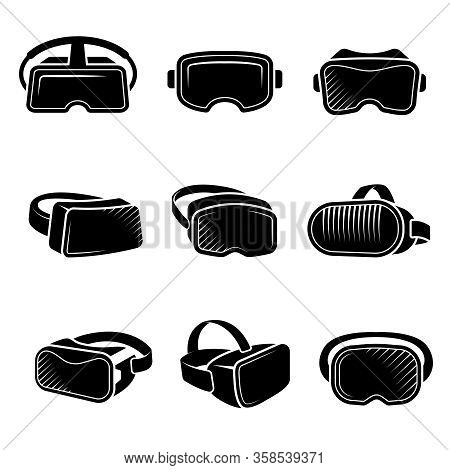 Virtual Reality Helmet. Vr Future Technology For Gaming Attractions Entertainment Headset Vector Log