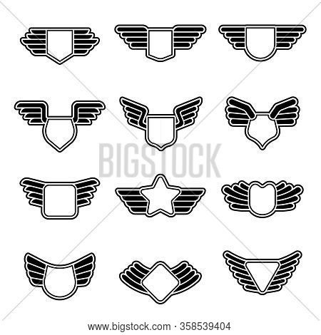 Wings Badges. Stylized Geometrical Army Shields Empty Aviation Emblems With Symbols Of Wings Vector
