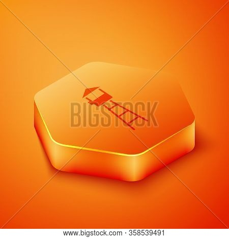 Isometric Watch Tower Icon Isolated On Orange Background. Prison Tower, Checkpoint, Protection Terri