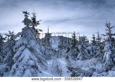 Lysa Hora Peak With Tv Transmitter In Winter Time, Czech Republic