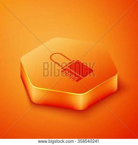 Isometric Safe Combination Lock Icon Isolated On Orange Background. Combination Padlock. Security, S