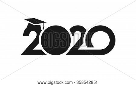 Class Of 2020 Year Graduation Sign, Awards Concept. Banner In Monochrome Style. Black Number, White