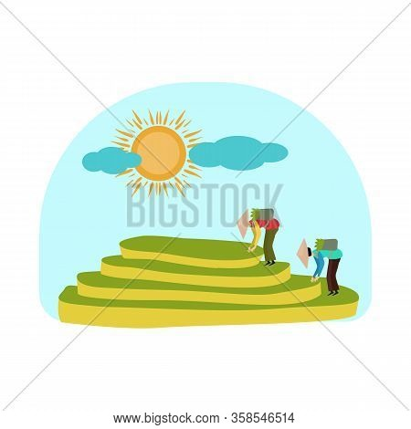 Vector Design Of Rice And Field Logo. Collection Of Rice And Terrace Stock Symbol For Web.