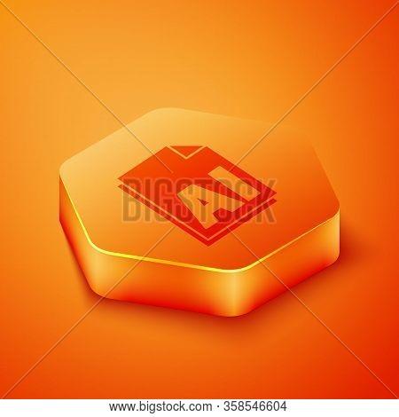 Isometric Ai File Document. Download Ai Button Icon Isolated On Orange Background. Ai File Symbol. O