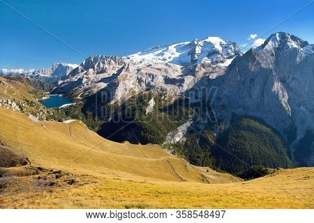 View Of Marmolada, The Highest Mount Of Alps Dolomites Mountains, Italy