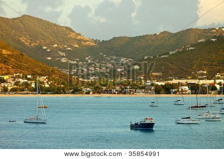view of philipsburg, st martin, from the sea