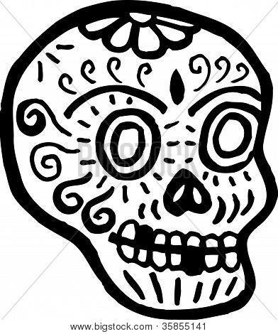 A Skull With Teeth Missing Represented In Black And White