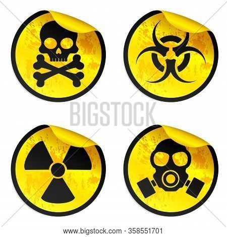 Danger Yellow Stickers Set. Radiation Warning Sign, Biohazard Warning Sign, Gas Mask Warning Sign, T
