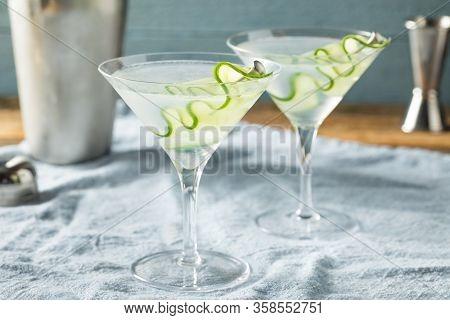 Homemade Japanese Sake Cucumber Martini Cocktail