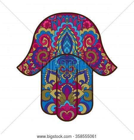 Traditional Eastern Or Indian Sacred Amulet Religious Symbol-hamsa, Hand Of Miriam, Palm Of David, R