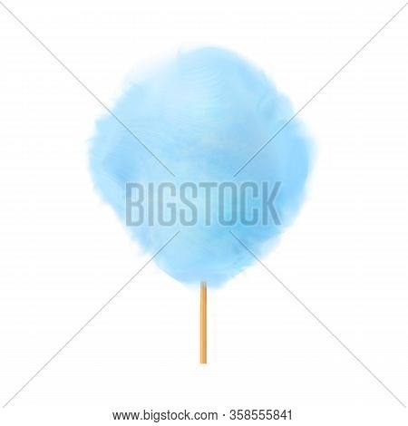 Cotton Candy. Realistic Blue Cotton Candy On Wooden Stick. Summer Tasty And Sweet Snack For Children