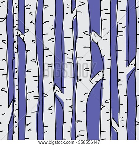 Birch Trees Seamless Pattern On Blue Background. Seamless, Repeat Vector Illustration Surface Patter