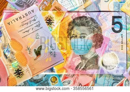 Face Mask On 5 Australian Dollars Banknote On White Background. Business Concept Of Covid 19-ncp Vir