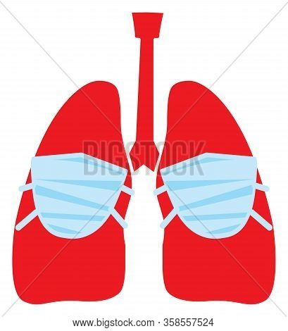 covid 19. Coronovirus. Stylized Red Lungs In A Mask. Vector, Illustration, Isolate,