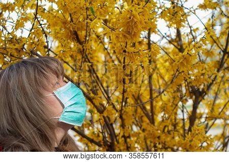 Covid-19 Pandemic Coronavirus Woman Home Isolation Auto Quarantine Wearing Face Mask Protective For