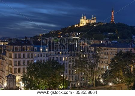 View Of Lyon By Night, France, Europe