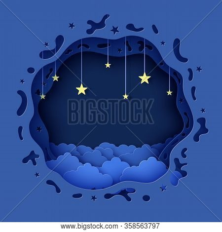 Night Sky In Round Shape In Paper Cut Style. Layered 3d Background With Blue Cloudy Landscape With S