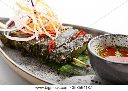 Spicy mutton with grape leaves. Delicious meat with cut vegetables and sauce. Tasty restaurant dish on tray. Exquisite food composition. Traditional western cuisine. Meal presentation