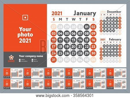 2021 Calendar. New Year Planner Design. English Calender. Red Color Vector Template. Week Starts On