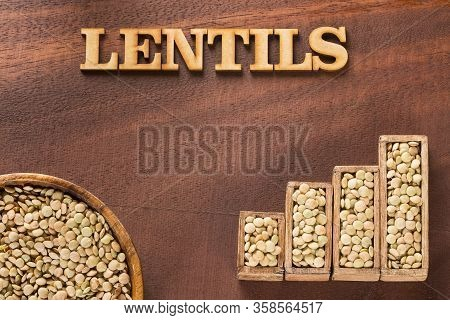 Lens Culinaris - Raw Organic Lentils. Statistical Table Of Sale And Consumption Of Lentils