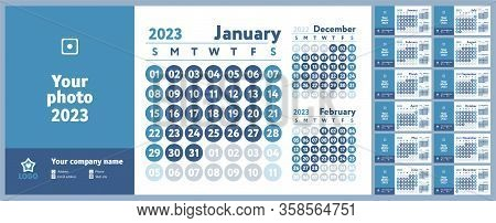 2023 Calendar. New Year Planner Design. English Calender. Blue Color Vector Template. Week Starts On
