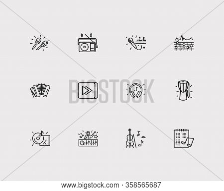 Melody Icons Set. Equalizer And Melody Icons With Dj, Cd And Radio. Set Of Vintage For Web App Logo