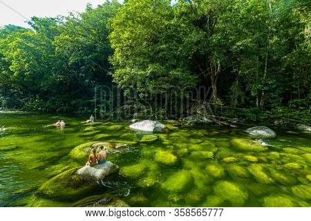 Mossman Gorge, AUSTRALIA - 15 APRIL 2017: Mossman Gorge - river in Daintree National Park, north Queensland, Australia