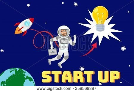Global Business Development Planning Illustration. Businessman In Space Suit In Open Space Cartoon C