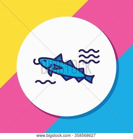Vector Illustration Of Cod Fish Icon Colored Line. Beautiful Sea Element Also Can Be Used As Catfish