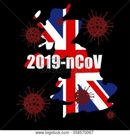 Illustration Vector Graphic Of Coronavirus Outbreak Warning Against An United Kingdom Map Background