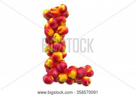 Letter L From Nectarines Or Peaches, 3d Rendering Isolated On  White Background