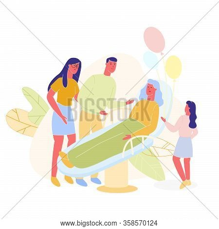 Family Visits Grandmother In Hospital. Give Sick Elderly Woman Balloons. Vector Illustration. Make G