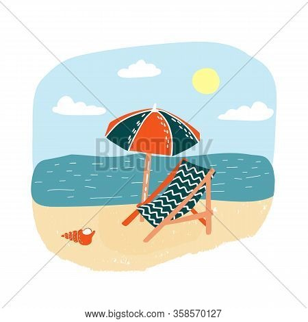 Summer Sea Landscape With Beach Sand And The Sun Bed With Sunshade. Vacation Without People, Relaxin
