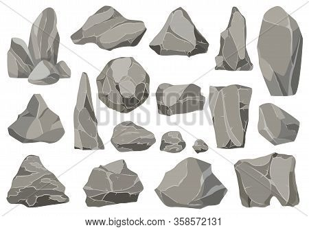 Rocks And Stones Single Or Piled For Damage And Rubble. Large And Small Stones. Set Of Flat Design I