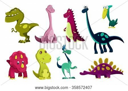 Set Of Dinosaurs Baby, Cute Print. Sweet Dinos. Cool Little Dinosaurs Illustration For Nursery T-shi