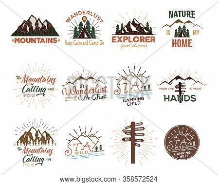 Travel Badges Set. Vintage Hand Drawn Camping Logos. Mountain Expedition Logo Designs. Outdoor Hike