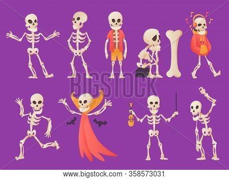 Funny Cartoon Skeleton. Vector Bony Character. Human Bones Illustration Skeletal. Set Of Dead People