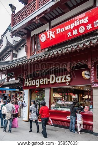 Shanghai, China - May 4, 2010: Yuyuan Shopping Streets. Closeup Of Haagen-dazs Counter At Street Lev