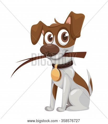 Cute Cartoon Jack Russell Terrier. Funny Dog. Vector Illustration On White Background
