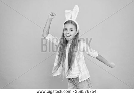 Being The Best Easter Bunny. Small Girl Child In Easter Bunny Style. Fashion Accessory For Easter Co