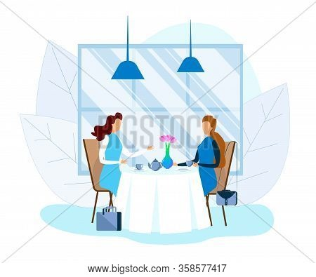 Business Lady Drinking Tea And Talking At Cafe. Two Faceless Women Sitting At Table In Cozy Eco Rest