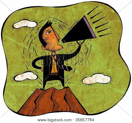Businessman Standing On Peak Of Mountain Yelling Through A Megaphone