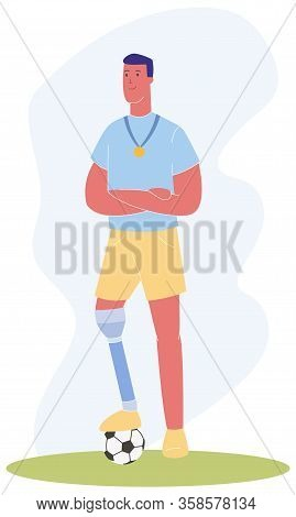 Cartoon Man With Prosthetic Leg Gold Medal Football Ball Vector Illustration. Player With Prosthesis