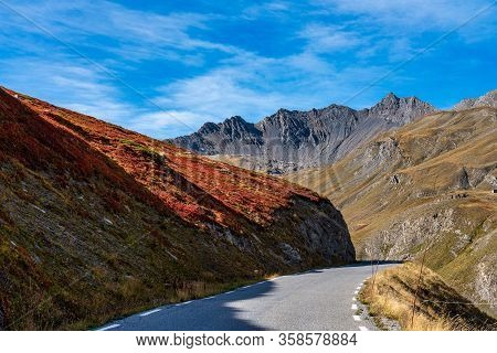 Mountain View In Ecrins National Park Near The Village Villar D Arene, France In Europe