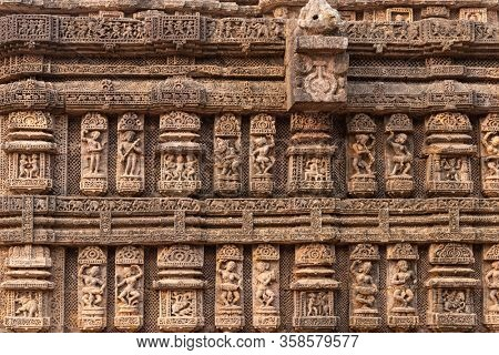 Carving details of the Kornak Sun temple (black pagoda), 13th century, located in Odissa, India