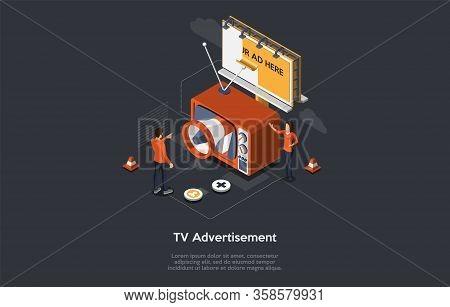 Isometric Tv Advertisement Concept, New Advertising Technologies. Audience Segmentation, Addressable